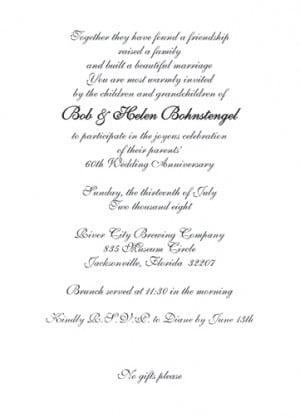 60th Wedding Anniversary Party Invitation, Style 1G