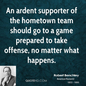... should go to a game prepared to take offense, no matter what happens