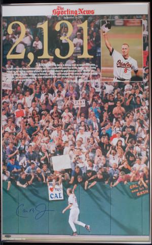Cal Ripken Jr. Signed 2131 Sporting News Poster in Frame