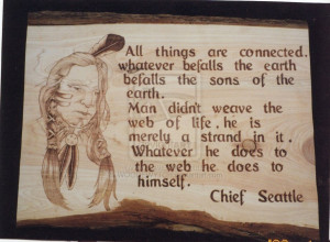 Chief Seattle Indian pyrography by WOODEWYTCH