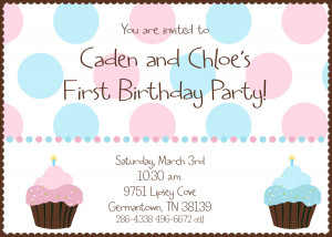 etsy.comTwin First Birthday - Cupcake Birthday Party Invitation ...