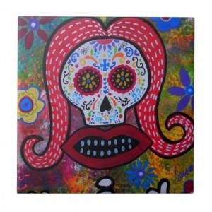 Dia de Los Muertos KISS Tile by Prisarts Ceramic Tiles