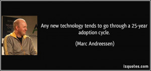 Any new technology tends to go through a 25-year adoption cycle ...