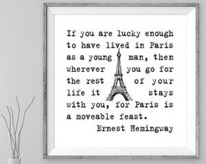 Ernest Hemingway quote, printable art motivational quote positive ...
