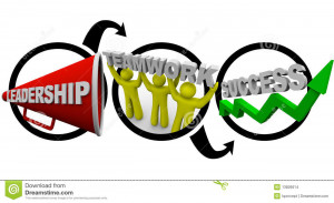 equals success, symbolized by a megaphone, people working together ...