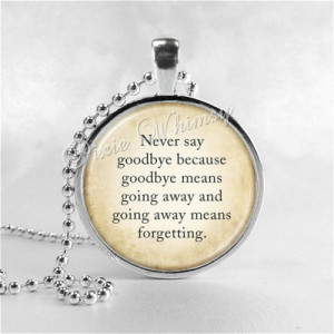 Goodbye, Peter Pan Jewelry, Glass Photo Art Necklace, Peter Pan Quote ...