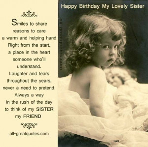 ... FOR FREE >> Happy Birthday Wishes For SISTER To WRITE In BIRTHDAY CARD