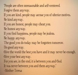 ... Religious & Spiritual » Mother Teresa Between You And God Wall Decal