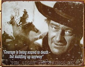 ... quote-Courage-TIN-SIGN-vtg-metal-wall-decor-western-horse-cowboy-1429