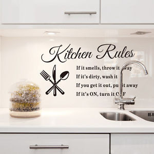 DIY-Removable-Art-Wall-Sticker-Vinyl-Quote-Mural-Kitchen-Rules-Decal ...