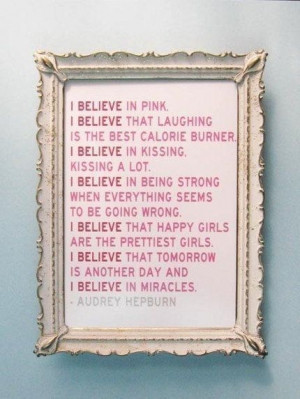 Believe in Pink Audrey Hepburn Quote Print Sale Print 11 x 14 ...