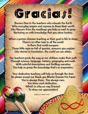 Teacher Appreciation Poems Mexican theme poem teacher
