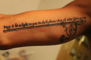 "... you in dark places when all other lights go out."" Ahh, LOTR quotes"