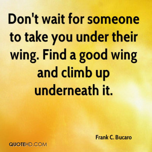 Don't wait for someone to take you under their wing. Find a good wing ...