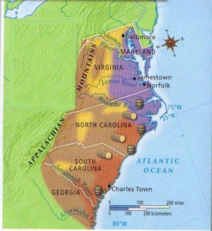 The Southern colonies cover Virginia, Maryland, North Carolina, South ...