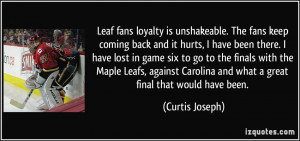 Leaf fans loyalty is unshakeable. The fans keep coming back and it ...