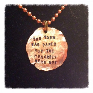 Paper Towns book inspired quote, hammered penny necklace