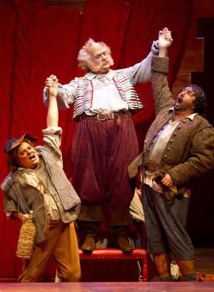 Bryn Terfel, center, plays Sir John Falstaff, and Greg Fedderly, left ...