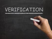 Verification Blackboard Shows Proof Confirmation Stock Photos
