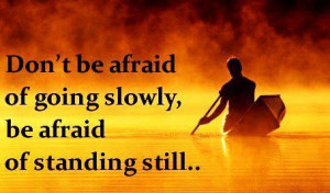 Don't be afraid of going slowly, be afraid of standing still.