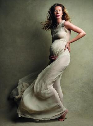 Gisele Bundchen Pregnant See Through In Vogue