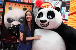 Jennifer Yuh Nelson and Po the Panda in LOS ANGELES PREMIERE OF ...