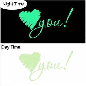 Glow in the Dark Heart You.. Wall Decal Sticker Removable Wall ...