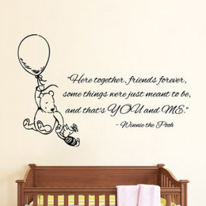 Winnie The Pooh Wall Decals Piglet On Balloon Quotes Friends Forever ...