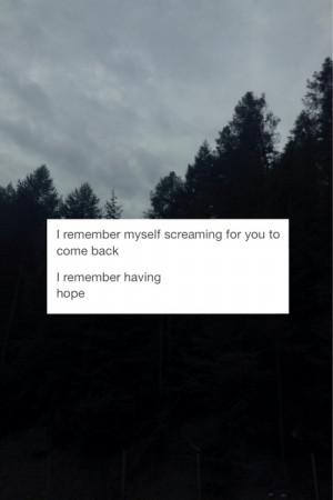 love girl quote text depressed depression sad trees you scream night ...