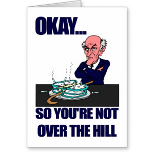 Funny Man's Over the Hill Birthday Greeting Cards