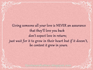 giving someone all your love is never an assurance that they ll love ...