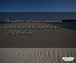 It matters not what someone is born , but what they grow to be.