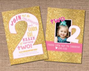 ... birthday pink ombre gold glitter 2nd birthday invitation baby girl 14