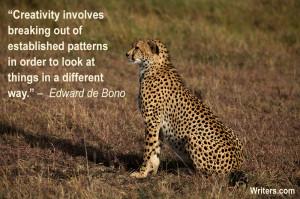 Edward de Bono quote, image of a Kenyan cheetah by Amanda Castleman