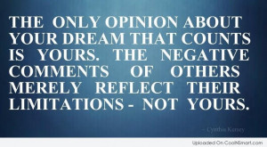Opinion Quote: The only opinion about your dreams that...