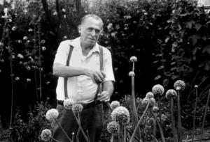 Charles Bukowski at the Japanese Garden at the Huntington Library