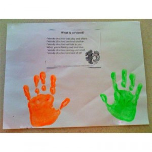 What is a Friend? Handprint Craft & Poem. Thinking preschool grad gift ...
