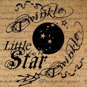 Celestial Twinkle Twinkle Little Star Text Words by Graphique, $1.00