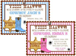 Birthday party Invitations, Cowboy, Wild West, Western, Birthday party ...