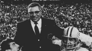 ... coach Vince Lombardi is carried off the field after winning Super Bowl
