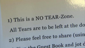 "It's a ""No Tear Zone"" at the celebration of life party for ..."