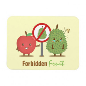 Funny Cartoon, Forbidden Fruit, Apple and Durian Flexible Magnets