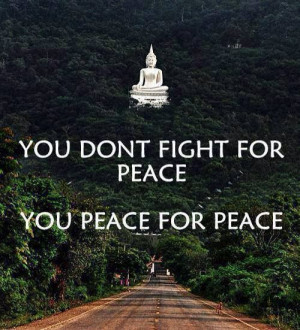 You don't fight for peace You peace for peace