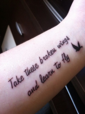 arm, beautiful, inspiration, quote, tattoo, wings