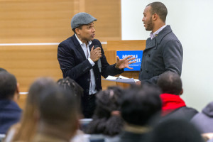 keynote speaker, actor Hill Harper, illustrate a point during Harper ...