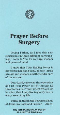 prayer before surgery more surgery prayer