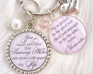 ... Wedding Pink Mothers Day Gift Keychain quote Necklace Mother in law