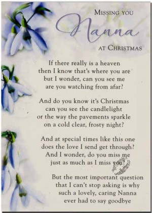 Missing Mom Quotes Heaven Missing nana at christmas time