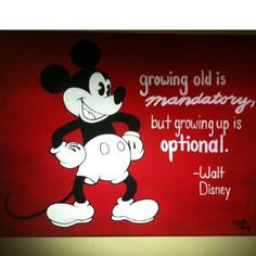 Hand-painted Mickey Mouse with inspirational Walt Disney quote. More