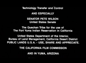 Senatorial help for the film given by Pete Wilson when the Israelis ...